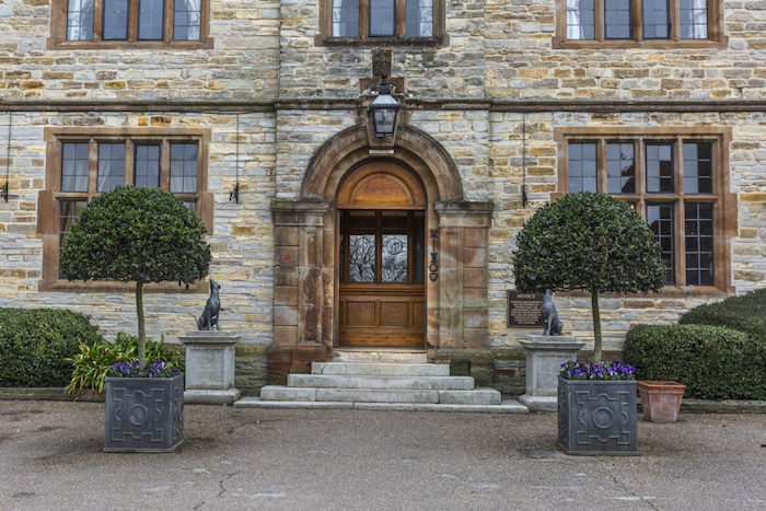 Exterior of Billesley Manor wedding venue, shot of doorway.