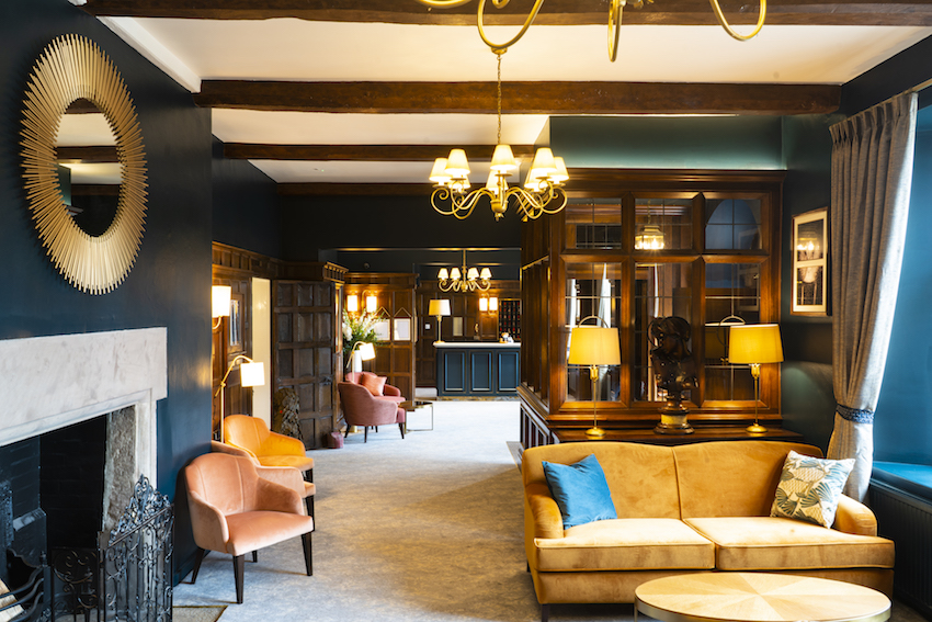 Interior of newly refurbished bar and lounge area - Billesley Manor Hotel & Spa, Stratford-upon-Avon